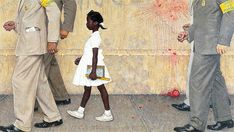 Ruby Bridges: The 6-Year-Old Who Needed a Federal Marshal Escort to Attend First Grade | A Mighty Girl Peintures Norman Rockwell, Norman Rockwell Art, Norman Rockwell Paintings, Black History, Art History, Political Art, Museum Exhibition, Illustrations, Medium Art