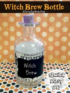 witches brew bottle, Quick and easy Halloween craft and decor #Halloween, #DIY