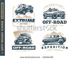Set of four off-road suv car monochrome labels, emblems, badges or logos isolated on white background. Off-roading trip emblems, 4x4 extreme club emblems