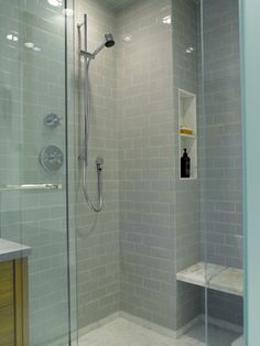 subway tiles are from Ann Sacks, 3x6 Caliper in silver grey.