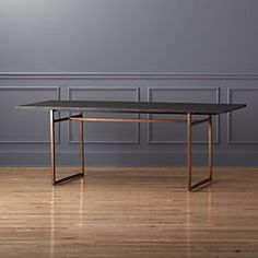 ** This is our favorite shape for a table base - the straight (not slanted) square edges, in just enough that a chair can be added to each end.   Not sure what kind of metal we'd use?  Can you let me know how that works?  Like the contrast and also the leg/base shape