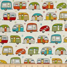 On The Road Fabric By Robert Kaufman- Ivory/ Metallic Campers, Trailers  Retro! #RobertKaufman