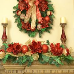 "Red Magnolia Christmas Swag with Ornaments CR1520 - Decorate your mantle with this beautiful red magnolia Christmas swag. Add this to your Christmas mantel garlands or use alone. Embellished with glistening red magnolias, ornaments and ribbons. Use this as a table centerpiece, above doors over mirrors. This is a flexible design which can be bent for many differnt uses.  Measures 32"" L #Christmaswreaths"