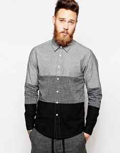 ASOS Shirt In Long Sleeve With Triple Panel Chambray