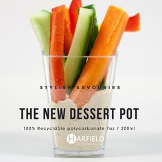 The New Dessert Pot – Stylish Savouries. 100% #Recyclable polycarbonate, Made in the UK, Stock immediately available. Hummus, carrot sticks, red pepper, cucumber.  Order yours now at https://www.harfieldtableware.co.uk/catalogsearch/result/?q=dessert+pot  #Stylishsavouries #Lowercarbonfootprint #environment #dessertpot #polycarbonate #Hummus #carrotsticks #redpepper #cucumber #madeintheuk #stockavaliable #breakfast #lunch #dinner #dessert #snack #savouries