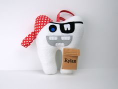Tooth Fairy Pillow - Pirate can be Personalized - Pirate Tooth Pillow - Tooth Shaped Pirate by LittleDollCloset on Etsy https://www.etsy.com/listing/125334396/tooth-fairy-pillow-pirate-can-be