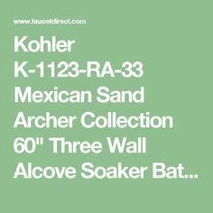 Kohler K1946LA0 White Archer Three Wall Alcove Soaking Tub with