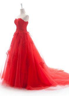 Amazing Red Strapless Sweep Train Wedding Dress