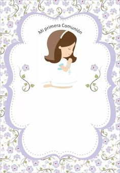 Imagen relacionada First Communion Favors, First Communion Invitations, First Holy Communion, Baptism Invitations Girl, Cupcake Toppers Free, Baptism Centerpieces, Angel Decor, Borders For Paper, Festa Party