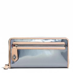 The Poppy Accordion Zip Wallet in Mirror Metallic Leather by Coach