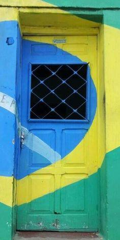 Colourful door in Brazil