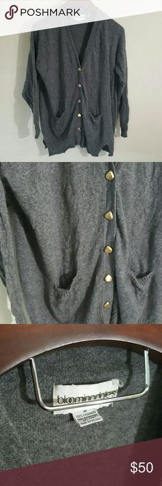 100% cashmere Bloomingdale's cardigan In excellent condition! 100% cashmere cardigan, size medium, oversized and loose fit. Gorgeous buttons!  Bundle using the bundle feature and save! Bloomingdale's Sweaters Cardigans