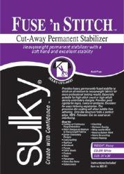 "Sulky Fuse N Stitch Cut Away Permanent Stabilizer 24""X36"" 663-01. 2 Items/Order"