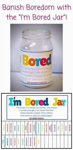 """Are you sick of hearing """"I'm Bored""""? Check out this bright and fun Bored Jar. Half simple chores, and half fun, imaginative play ideas, plus some blanks for you to fill in your own (based on your child's age and interests)! Come grab your FREE PRINTABLE! Bored Jar, Im Bored, Bored Kids, Are You Bored, Kids And Parenting, Parenting Hacks, Parenting Goals, Parenting Classes, Imaginative Play"""