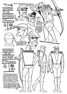 Alex Toth character sheets for The Super-Friends; Green Arrow, Rima The Jungle Girl,The Atom, Green Lantern & The Flash. (From Alex Toth: By Design, by the artist & Darrell McNeil.)