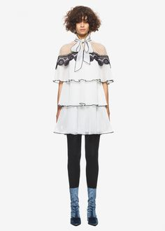 d5fcce1ab08d self portrait monochrome pleated embroidery dress white. Sale and Outlet