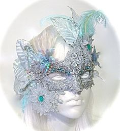 Aqua Aura Masquerade Mask Venetian Lace Masks by Marcellefinery