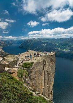 Preikestolen, aka Pulpit Rock, is a massive cliff 1982 feet above Lysefjorden. The top of the cliff is about 82 ft by 82 ft, and is one of the most visited natural tourist attractions in Norway.