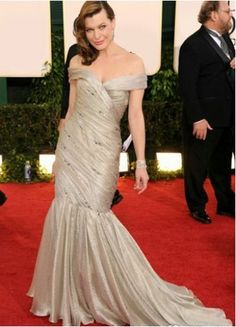 Attractive Beige Mermaid Trumpet Off-The-Shoulder Beading Sweep Imitated Silk Taffeta Evening Golden Globe Dress.. $233.99