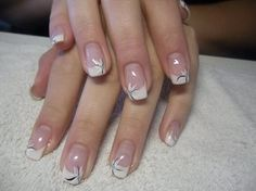 63 Ideas For French Manicure Designs With A Twist French Manicure Acrylic Nails, French Nail Art, French Tip Nails, Nail Tip Designs, French Manicure Designs, French Manicure With A Twist, White Glitter Nails, Flower Nails, Nail Tips