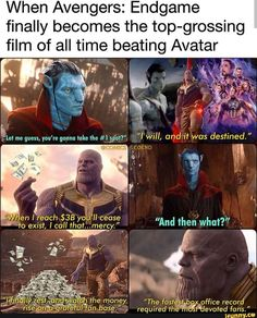 When Avengers: Endgame finally becomes the top-grossing film of all time beating Avatar - iFunny :) Avengers Memes, Marvel Jokes, Marvel Funny, Marvel Dc Comics, Marvel Avengers, Really Funny Memes, Wtf Funny, Dc Memes, Spiderman