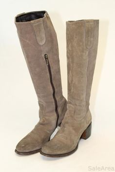 Rocco P Italy Made Womens 8.5 39 Tall Taupe Suede Heels Fashion Riding Boots g #RoccoP #FashionMidCalf