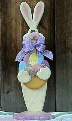 Woodcraft Ideas | Smiles always seem to greet this Happy Easter Bunny! Made of three ...