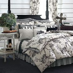 Looking for ideas to redo my bedroom...as a surprise to Andy...I love black and white or black and red...Just beginning to look.