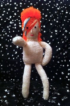 knitted David Bowie in space