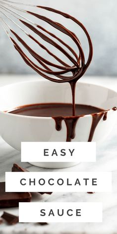 This impossibly rich chocolate sauce is going to be your new best friend! Whip it together in 10 minutes and serve over ice cream, cakes, pastries and more! Homemade Chocolate Sauce, Chocolate Sauce Recipes, Easy Chocolate Desserts, Homemade Snickers, Homemade Donuts, Homemade Sauce, Homemade Desserts, Fun Desserts, Dessert Recipes