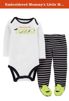 """Embroidered Mommy's Little Monster 2 Piece Bodysuit & Footed Pants Baby Boys Set (0-3 Months). This adorable Halloween themed baby set features a bodysuit with """"Mommy's little Monster"""" design & sweatpants with monster footies. 2-piece set Infant boys sizes Bodysuit with snap bottom Pants with elastic waist 100% cotton Brand: Carters ."""