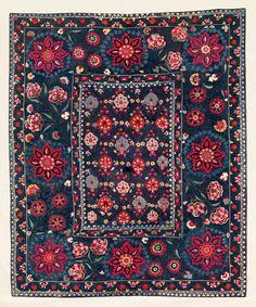 Lakai Suzani Origin: Central Asia, Uzbekistan, Shakhrisyabz, 195 x 160 cm, Mid 19th century,