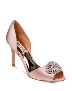 Badgley Mischka Dana Embellished Satin d'Orsay High Heel Pumps  | Bloomingdale's