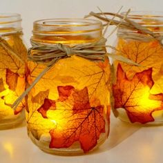 Maple leaf decoupaged mason jars fall decor - actual instructions
