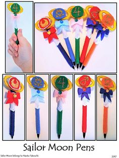 CELESTIAL SAILOR FELT PEN COVERS  Heres my own take on the Transformation Pens!  Q: Why didnt you make them exactly like the show? A: I started with Jupiter - her pens colors are green and yellow. Felt colors are SUPER saturated and it ended up looking like a Green Bay Packers Pen,