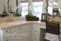 L Shaped Vanity Sink And Mirror With Stone Countertop