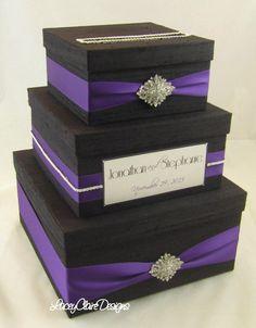 Wedding Card Box White And Lavender Gift Card Box Money Card Box ...