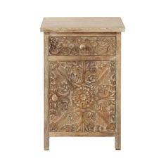 Carved solid mango wood bedside table with drawer in whitewash W 42cm
