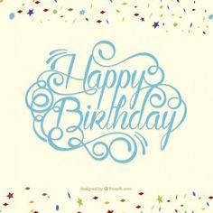 Cartão de feliz aniversário no estilo da rotulação