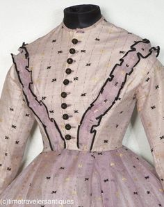 Lovely Civil War Era Embroidered Lilac Silk Gauze Gown