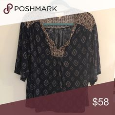 •Anthropologie• En Elle Patterned Blouse Brand new without tag! Label marked out to prevent returns. Super cute and flattering on! Anthropologie Tops