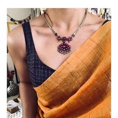 Simple n elegant saree styles Sterling Necklaces, Sterling Silver Pendants, Silver Jewelry, 925 Silver, Silver Ring, Diamond Jewelry, Indian Dresses, Indian Outfits, Saree Jewellery
