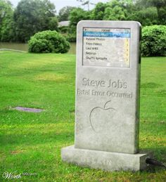 "Palo Alto, CA~ Apple has created a special tombstone for Steve Jobs. The shape of the Steve Jobs tombstone is an iPod. The inscription reads: ""Steve Jobs, fatal error occurred. Cemetery Monuments, Cemetery Statues, Cemetery Headstones, Old Cemeteries, Cemetery Art, Graveyards, Steve Jobs, Photo Expo, Kings & Queens"