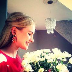 Lovely chandelier earrings Pink and orange chandelier earrings Hwl boutique Jewelry Earrings