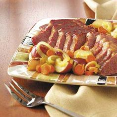 Glazed Corned Beef Dinner- An easy and delicious way to fix corned beef in a slow cooker.  Celebrate St. Patty's any day!