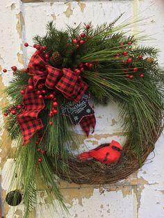 Christmas Wreath for Door, Cardinal Wreath, Holiday Wreath, Etsy Christmas Wreath by FlowerPowerOhio on Etsy