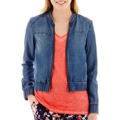 a.n.a® Tencel Denim Lightweight Bomber Jacket  found at @JCPenney