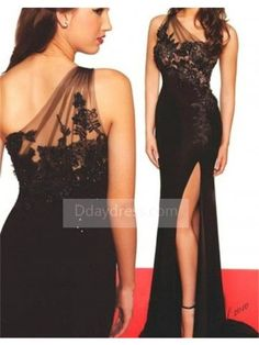 05c94607131 Black Illusion Beaded Lace One Shoulder Long Slit Jersey Prom Evening Dress  ItemBl0033