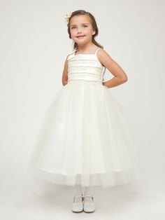 Ivory Embroidered Satin Layered Top w/Tulle Skirt Dress. Flowergirl