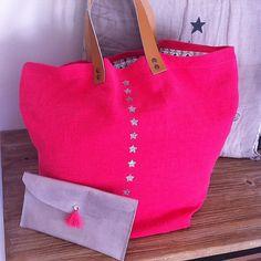 sac cabas, sac en lin, sac tissu, cadeau maitresse, sac à main, grand sac, sac fait main, cabas, cabas lin, sac rose